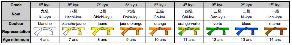 Grades des ceintures de couleurs