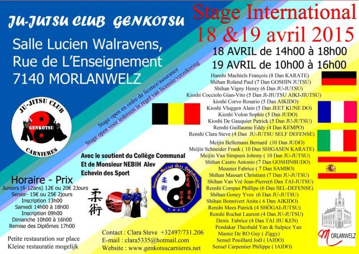 stage belgique 18 et 19 avril
