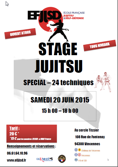 stage jujitsu 24 techniques 20 juin 2015